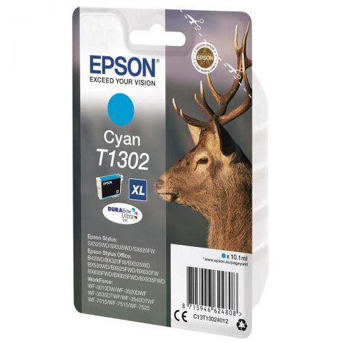 Epson T1302 Inkjet Cartridge DURABrite Stag XL Capacity 10.1ml Cyan Ref C13T13024012