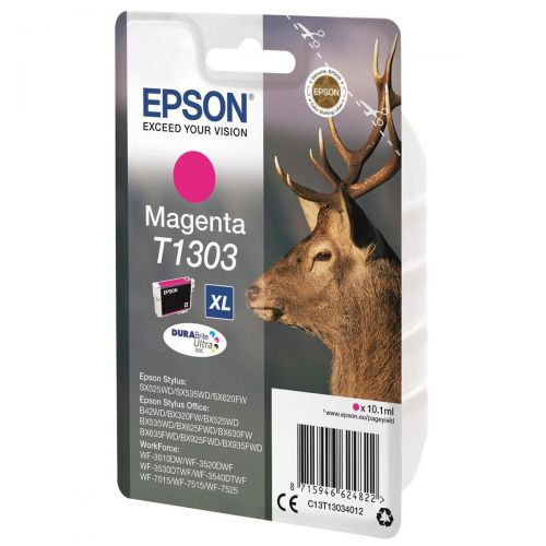 Epson T1303 Inkjet Cartridge DURABrite Stag XL Capacity 10.1ml Magenta Ref C13T13034012