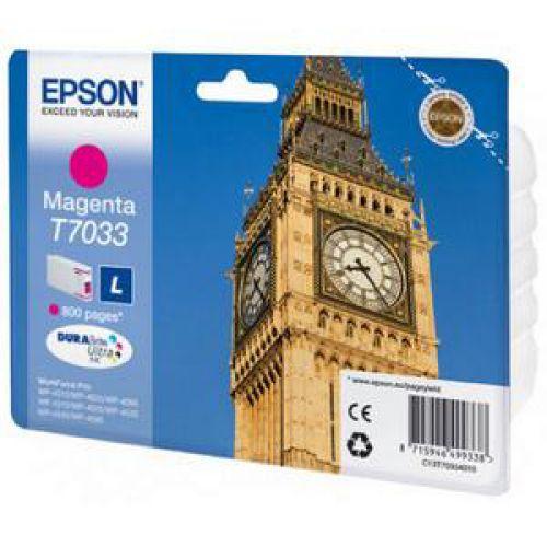 Epson T7033 Inkjet Cartridge Big Ben Page Life 800pp Magenta Ref C13T70334010