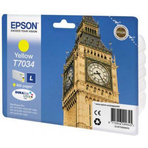 Epson T7034 Inkjet Cartridge Big Ben Page Life 800pp Yellow Ref C13T70344010
