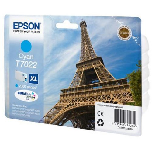 Epson T7022 Inkjet Cartridge Eiffel Tower XL High Capacity Page Life 2000pp Cyan Ref C13T70224010