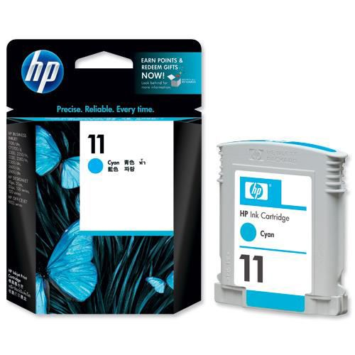 Hewlett Packard [HP] No. 11 Inkjet Cartridge Page Life 1750pp 28ml Cyan Ref C4836A