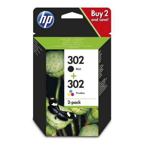 Hewlett Packard [HP] No. 302 Inkjet Cartridge Black 190pp & Tri-colour 165pp Ref X4D37AE [Pack 2]