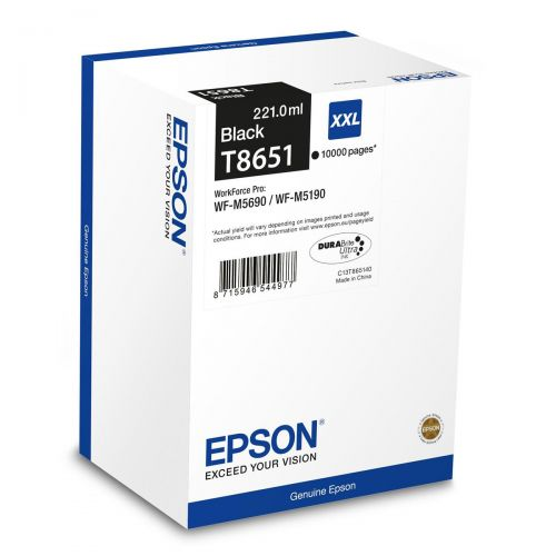 Epson T8651 XXL Ink Cartridge 221.0ml Page Yield 10000 Black Ref C13T865140 *3 to 5 Day Leadtime*