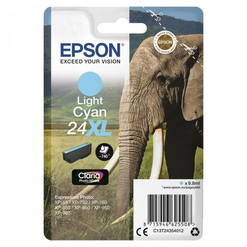 Epson 24XL Inkjet Cartridge Elephant 9.8ml 740pp Light Cyan Ref C13T24354012