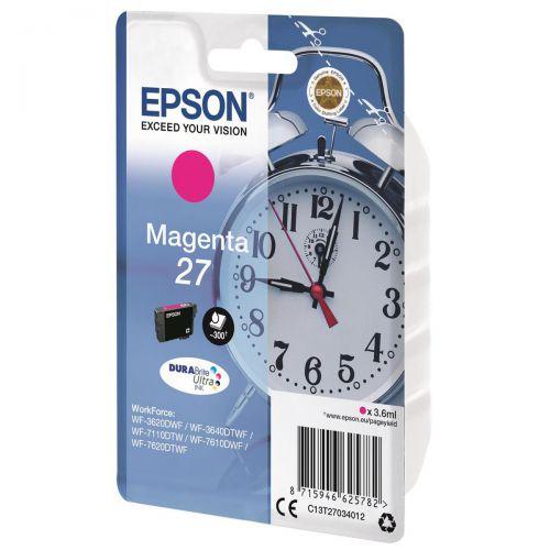 Epson Alarm Clock 27 Inkjet Cartridges Page Life 350pp Capacity 3.6ml Magenta Ref C13T27034012