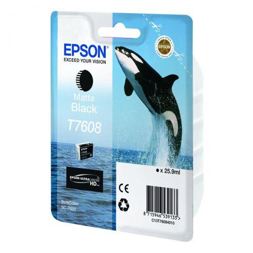 Epson T7608 Inkjet Cartridge 25.9ml Matt Black Ref C13T76084010