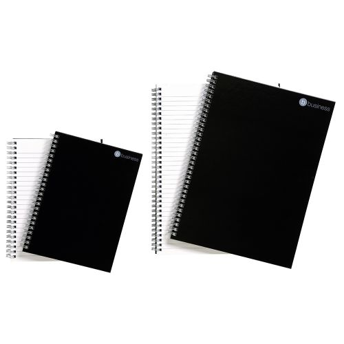 Business Notebook Twin Wirebound Hard Cover Ruled 80gsm A4 Black [Pack 5]