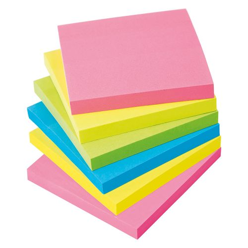 Business Extra Sticky Re-Move Notes Pad of 90 Sheets 76x76mm 4 Assorted Neon Colours [Pack 6]