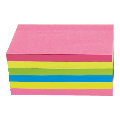 Business Extra Sticky Re-Move Notes Pad of 90 Sheets 76x127mm 4 Assorted Neon Colours [Pack 6]
