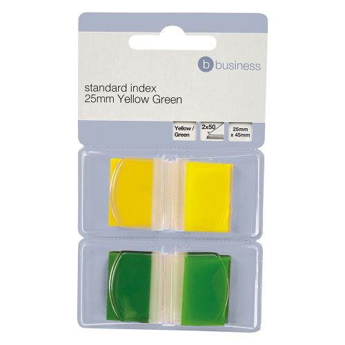 Business Index Flags 50 per Pack 25mm Yellow and Green [Pack 2]