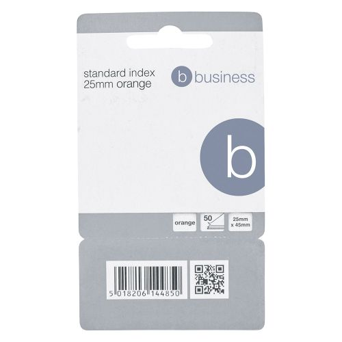 Business Standard Index Flags 50 Sheets per Pad 25x45mm Orange [Pack 5]