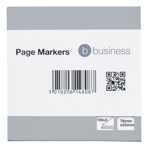 Business Paper Page Markers 100 Sheets per Pad 25x76mm