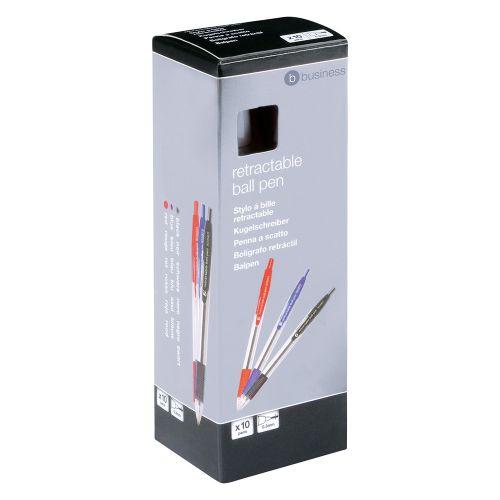 Business Retractable Grip Ball Pen 1.0mm Tip 0.4mm Line Blue [Pack 10]