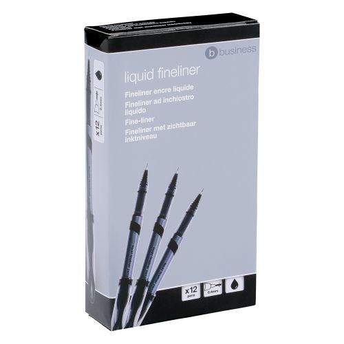 Business Premium Fineliner Pen Liquid 0.8mm Tip 0.4mm Line Black [Pack 12]