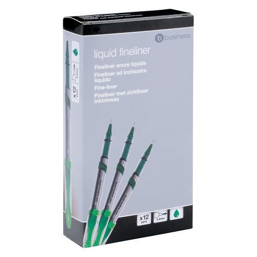 Business Premium Fineliner Pen Liquid 0.8mm Tip 0.4mm Line Green [Pack 12]