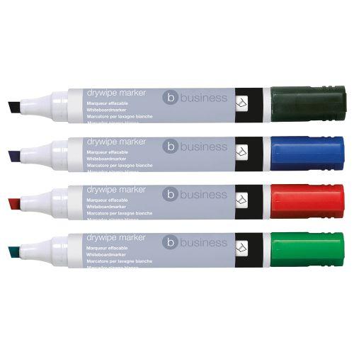 Business Drywipe Marker Xylene/Toluene-free Chisel Tip 2-5mm Line Assorted [Wallet 4]
