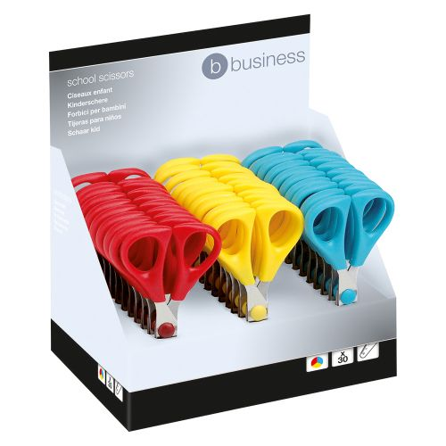 Business School Scissors with Plastic Handles and Stainless Steel Blades 130mm Assorted [Pack 30]