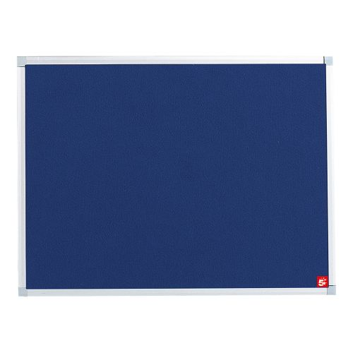 Business Felt Noticeboard with Fixings and Aluminium Trim W900xH600mm Blue