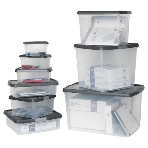 Business Premium Storage Clip Box Plastic Stackable with Lid 9 Litre Clear