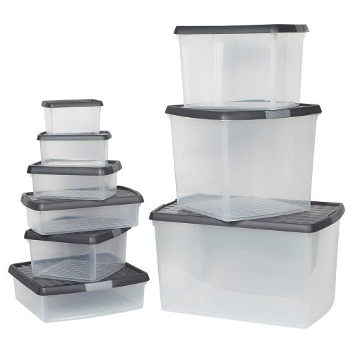 Business Premium Storage Clip Box Plastic Stackable with Lid 1.5 Litre Clear