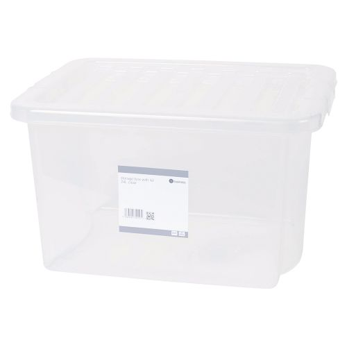 Business Storage Box Plastic with Lid Stackable 24 Litre Clear
