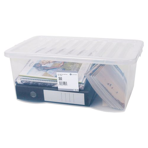 Business Storage Box Plastic with Lid Stackable 45 Litre Clear