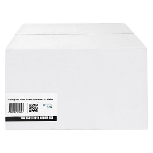 Business Eco Envelopes Recycled Pocket Self Seal 90gsm White C5 [Pack 500]