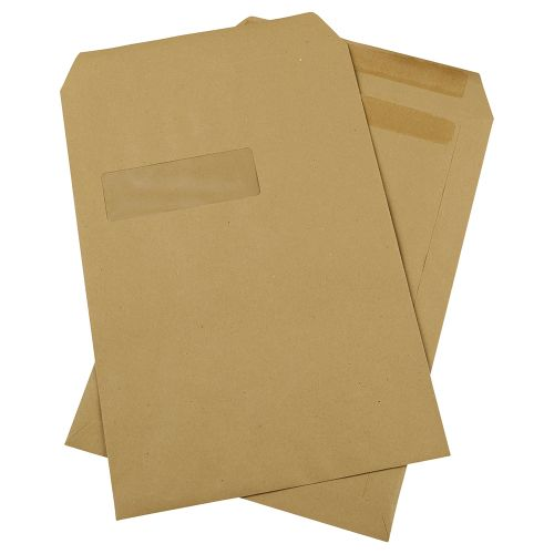 Business Envelopes Mediumweight Pocket Self Seal Window 90gsm Manilla C4 [Pack 250]