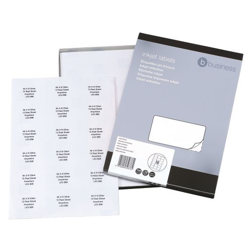 Business Addressing Labels Inkjet 18 per Sheet 63.5x46.6mm White [1800 Labels]