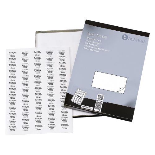 Business Multipurpose Labels Laser 65 per Sheet 38.1x21.2mm White [6500 Labels]