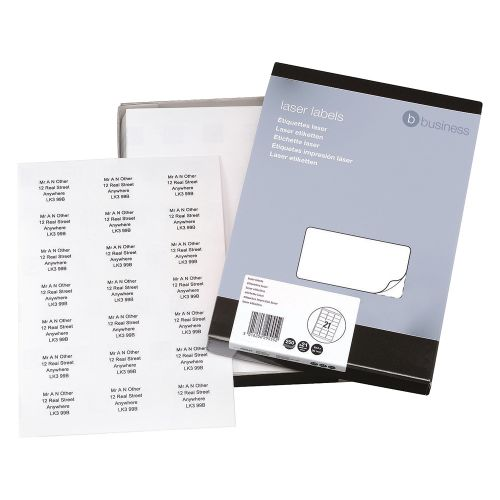 Business Multipurpose Labels Laser 21 per Sheet 63.5x38.1mm White [5250 Labels]