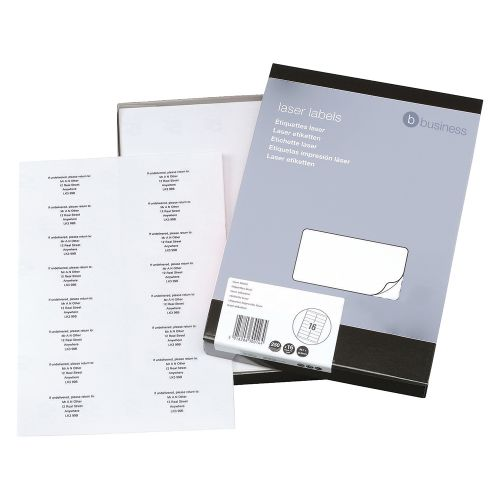 Business Multipurpose Labels Laser 16 per Sheet 99.1x34mm White [4000 Labels]