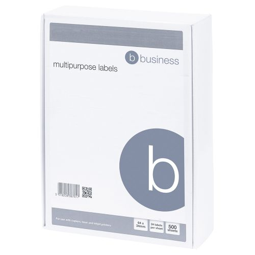 Business Multipurpose Labels Laser Copier Inkjet 24 per Sheet 64x34mm White 12000 Labels [Pack 500]