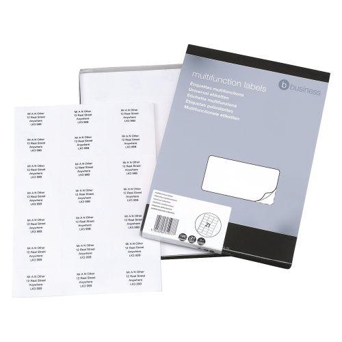 Business Multipurpose Labels Laser 21 per Sheet 70x42.4mm White [2100 Labels]