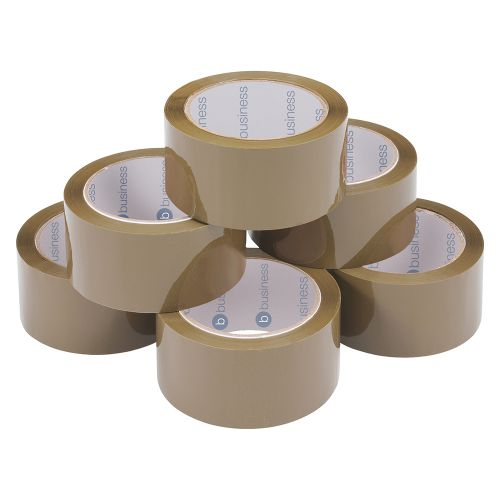 Business Packaging Tape Polypropylene 48mm x 66m Buff [Pack 6]