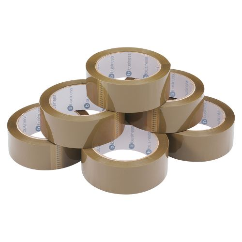 Business Packaging Tape Polypropylene 38mm x 66m Buff [Pack 6]