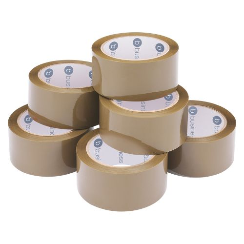Business Packaging Tape Low Noise Polypropylene 48mm x 66m Buff [Pack 6]