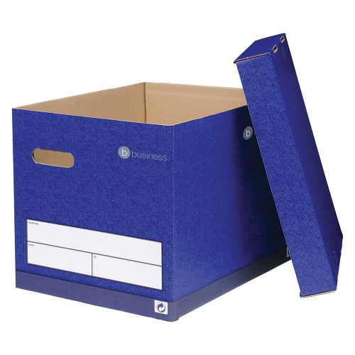 Business Premium Superstrong Archive Storage Box Foolscap Blue [Pack 10]