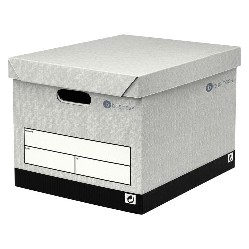 Business Storage Box Self-Assembly Grey [Pack 10]