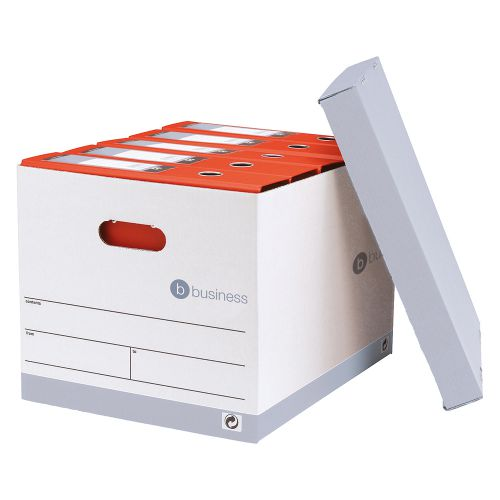 Business Storage Box for 5 A4 Lever Arch Files Red & White [Pack 10]