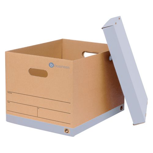 Business Storage Box for 5 A4 Lever Arch Files Red & Brown [Pack 10]
