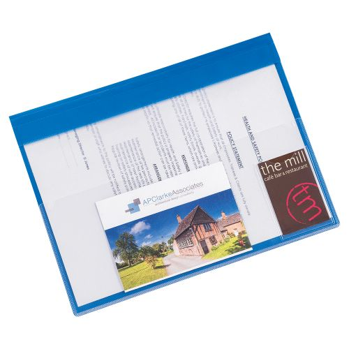Business Document Folder Task File Semi-rigid Clear Pocket Front Cover A4 Blue [Pack 5]