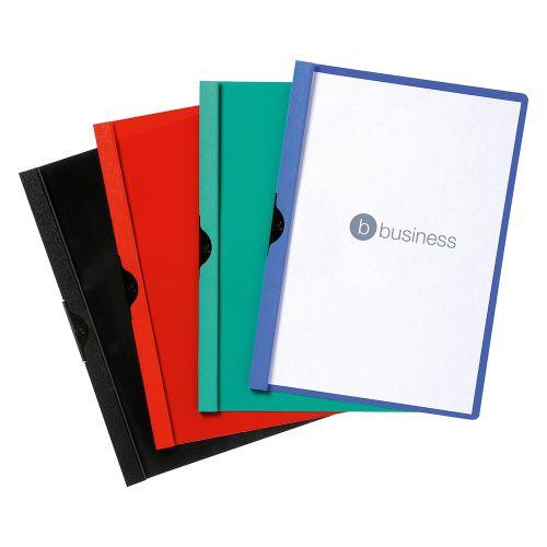 Business Clip Folder 3mm Spine for 30 Sheets A4 Black [Pack 25]