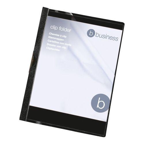 Business Clip Folder 6mm Spine for 60 Sheets A4 Black [Pack 25]