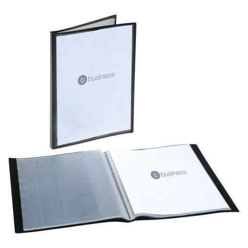 Business Display Book Rigid Cover Personalisable Polypropylene 40 Pockets A4 Black