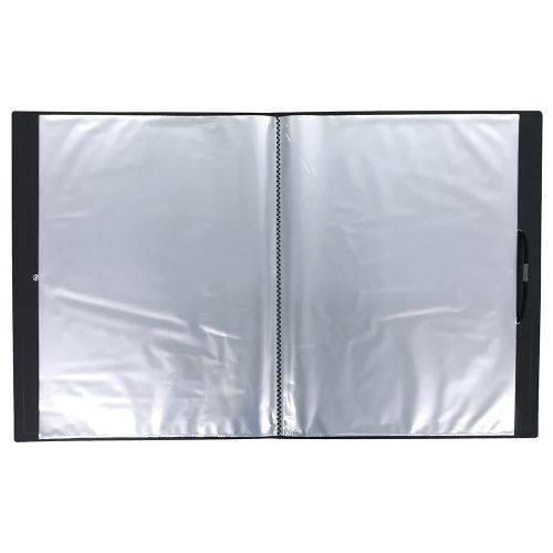 Business Display Book Hardback Cover Polypropylene 50 Pockets A4 Black