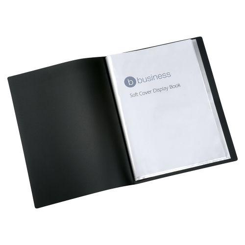 Business Display Book Soft Cover Lightweight Polypropylene 20 Pockets A4 Black