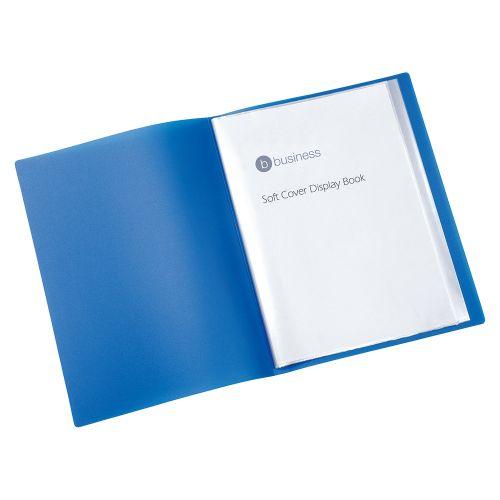 Business Display Book Soft Cover Lightweight Polypropylene 10 Pockets A4 Blue