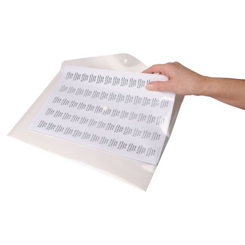 Business Envelope Stud Wallet Polypropylene A4 Transparent Clear [Pack 5]